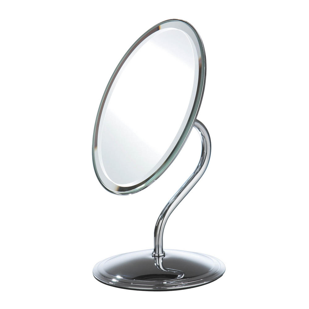 Chrome Effect Free Standing Modern Bathroom Shaving Oval Mirror