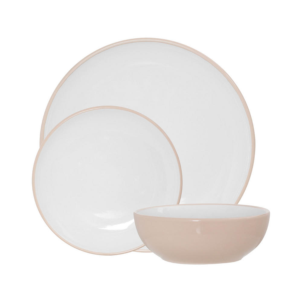 Sienna 12Pc Dinner Set, Natural/White Stoneware W0 X D0 X H0Cm