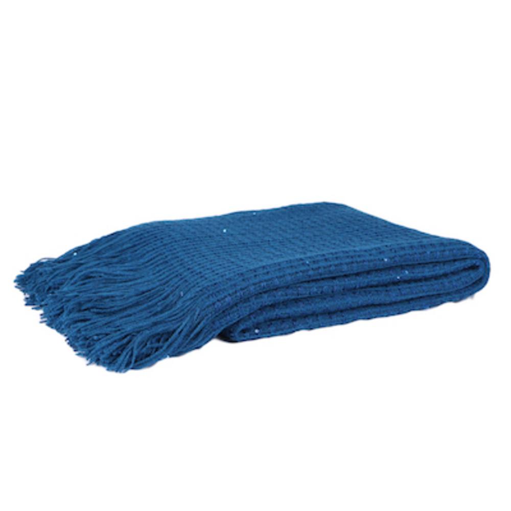 Malini Knitted Grid Throw in Indigo Blue