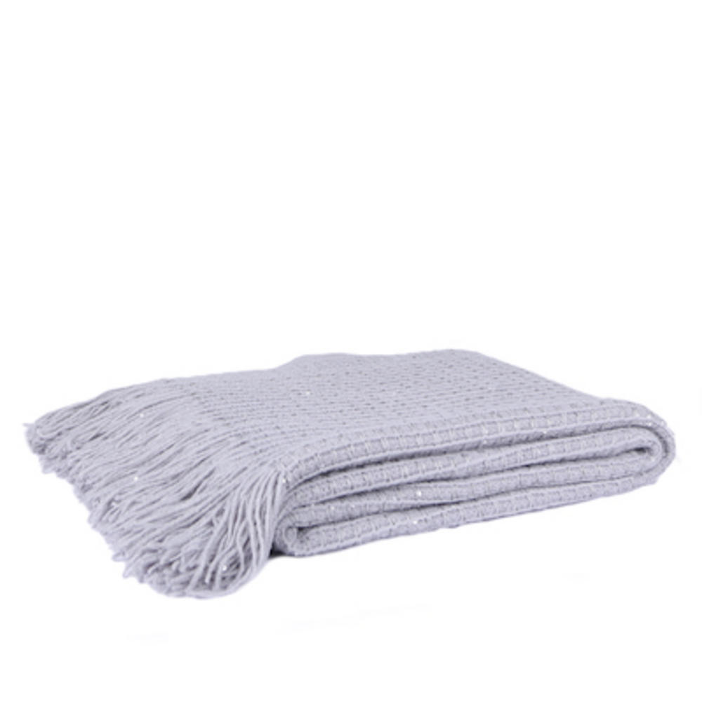 Malini Knitted Grid Throw in Silver
