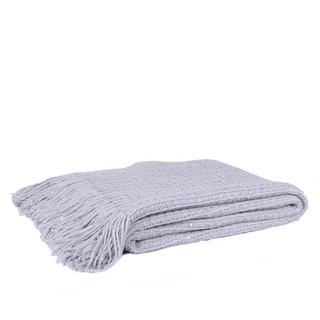 Malini Knitted Grid Throw in Silver Thumbnail 1