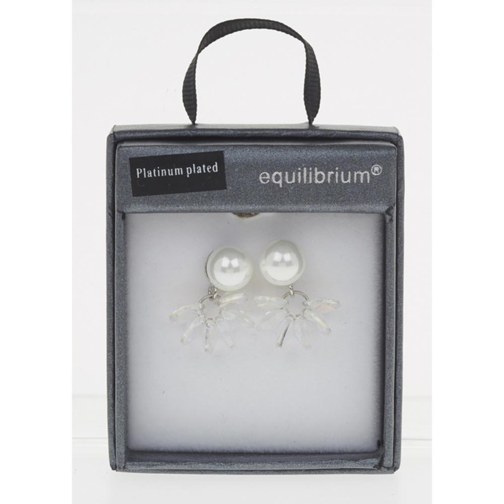 Crystal Cluster Pearl Earrings