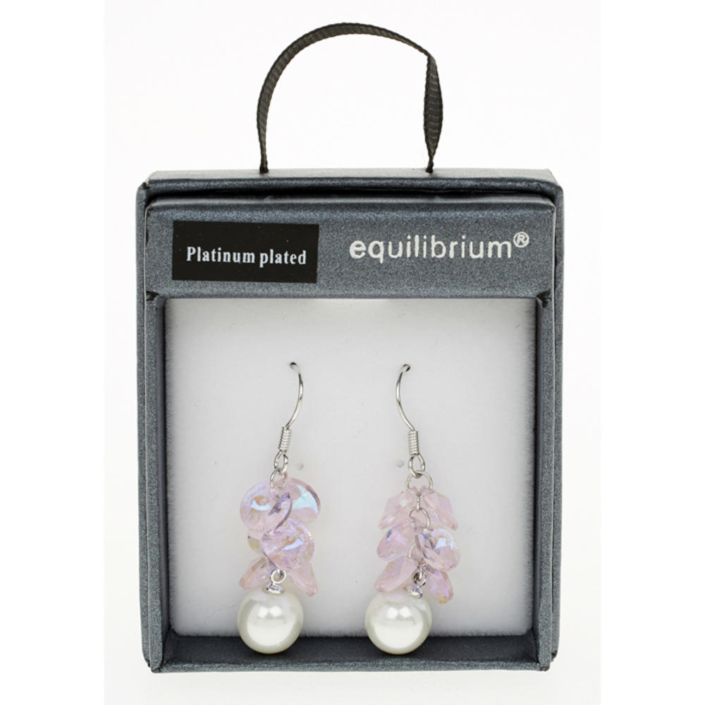 Pink Hanging Pearl Earrings
