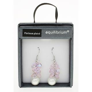 Pink Hanging Pearl Earrings Thumbnail 1
