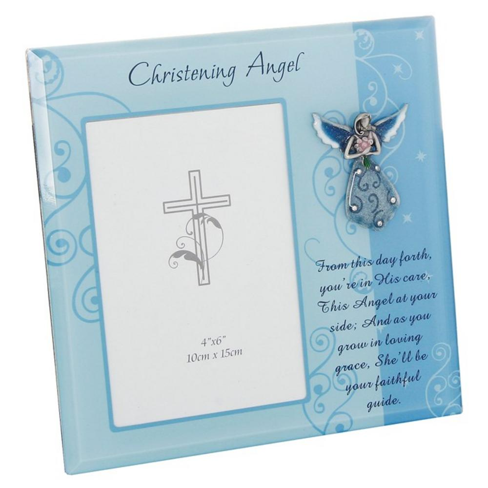 Christening Angel Frame Boy 20Cm X 21Cm