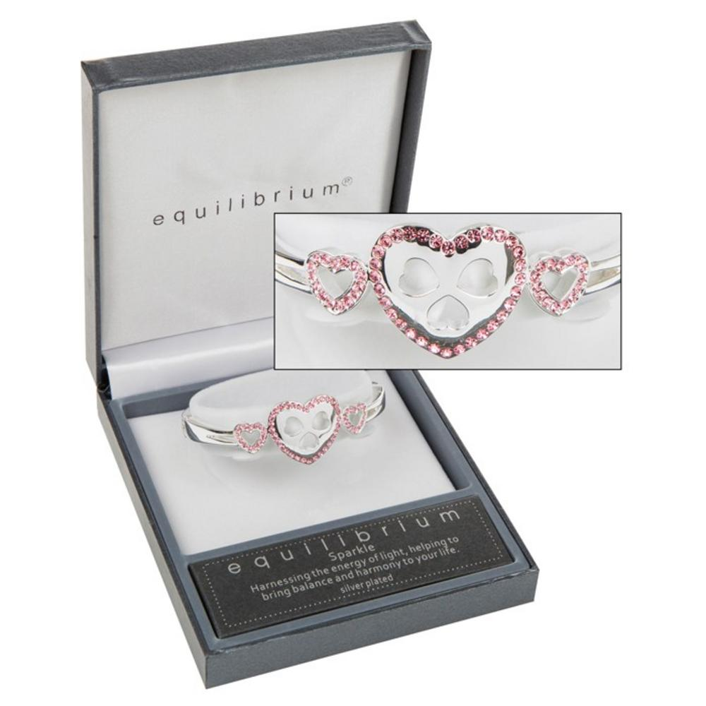 Diamante Pink Hearts Bracelet