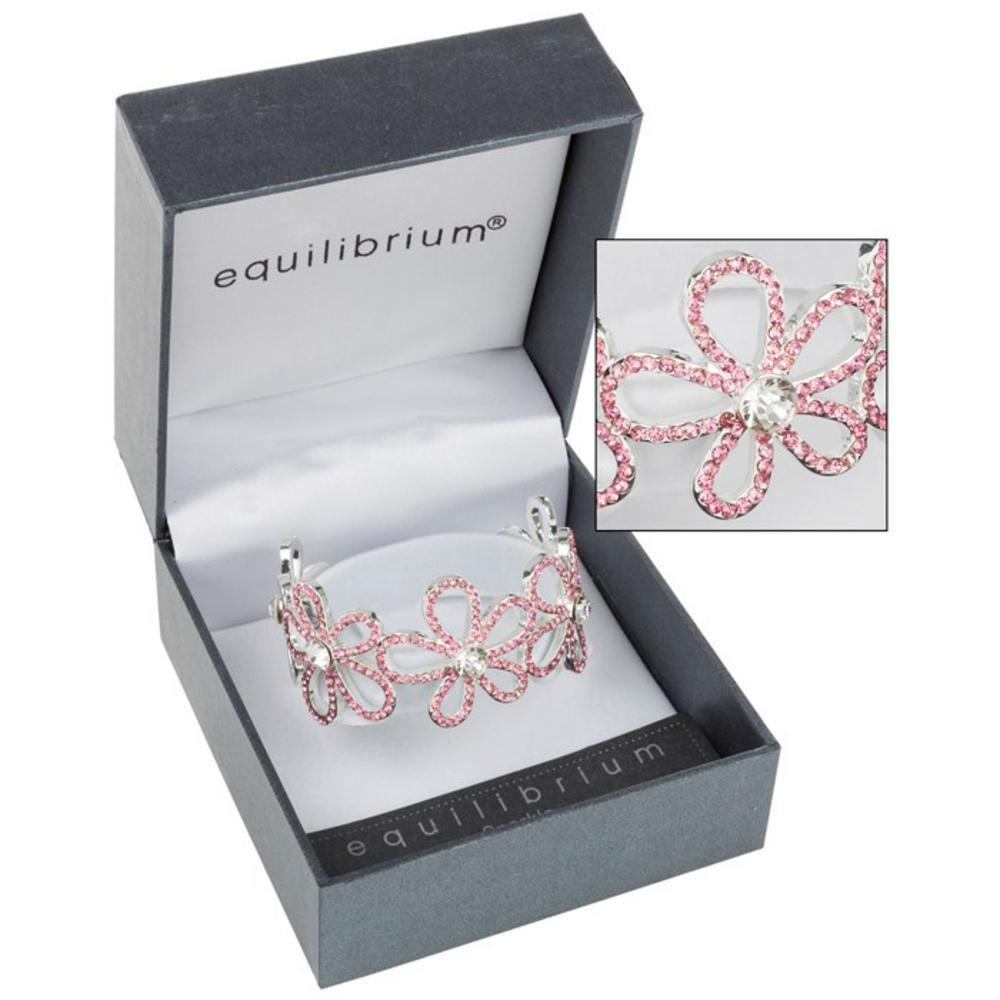 Crystal Flower Bracelet in Pink