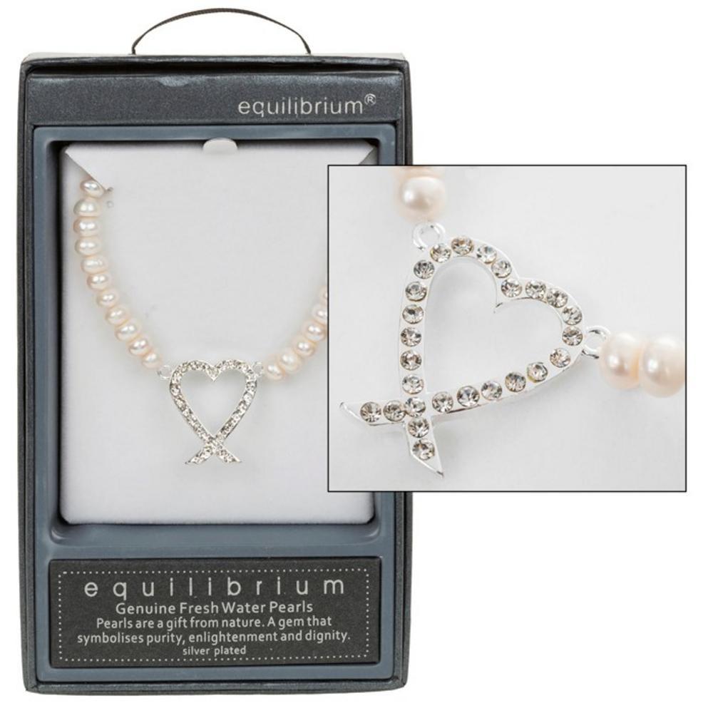 Pearl Diamante Heart Necklace