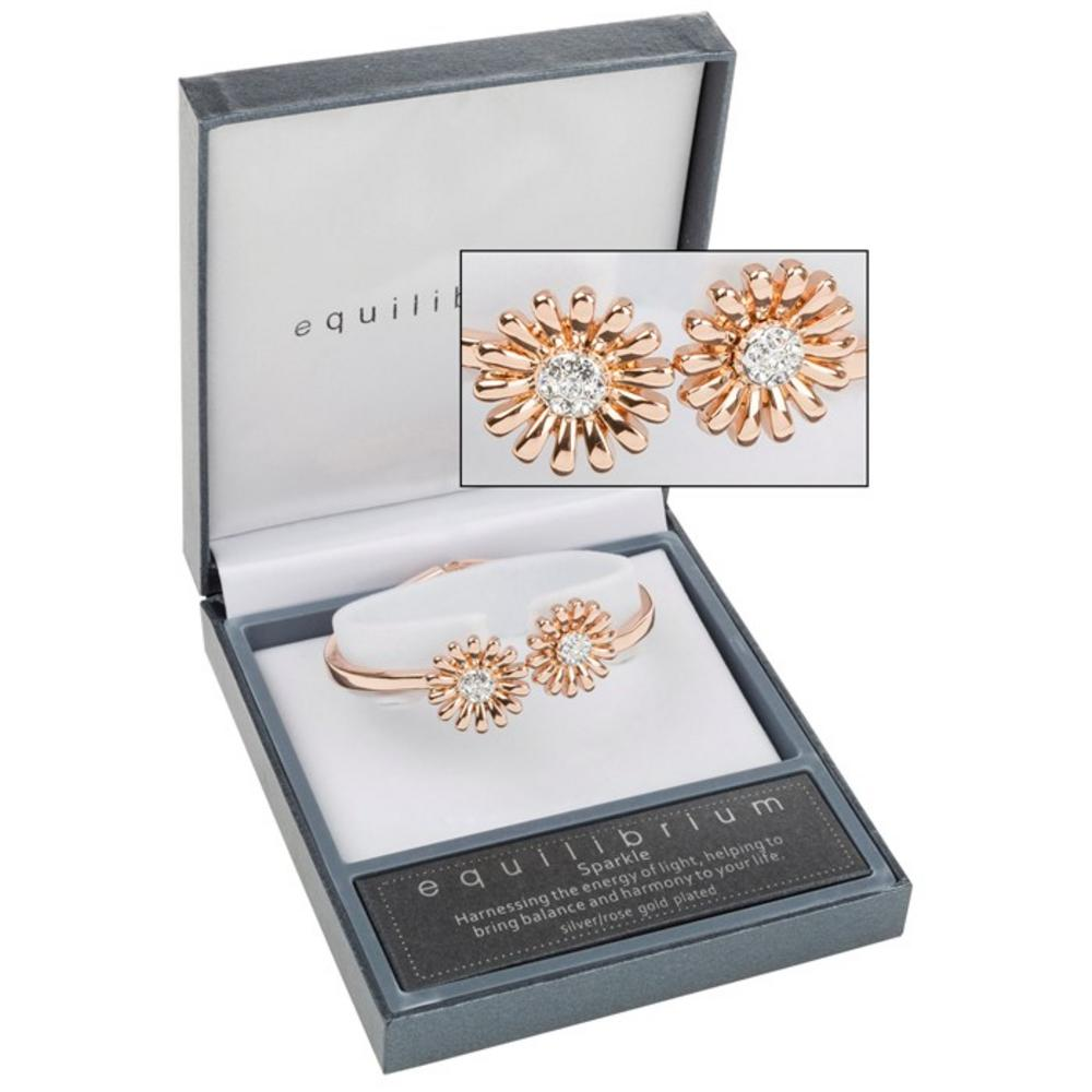 Two Daisies Open Rose Gold Bracelet