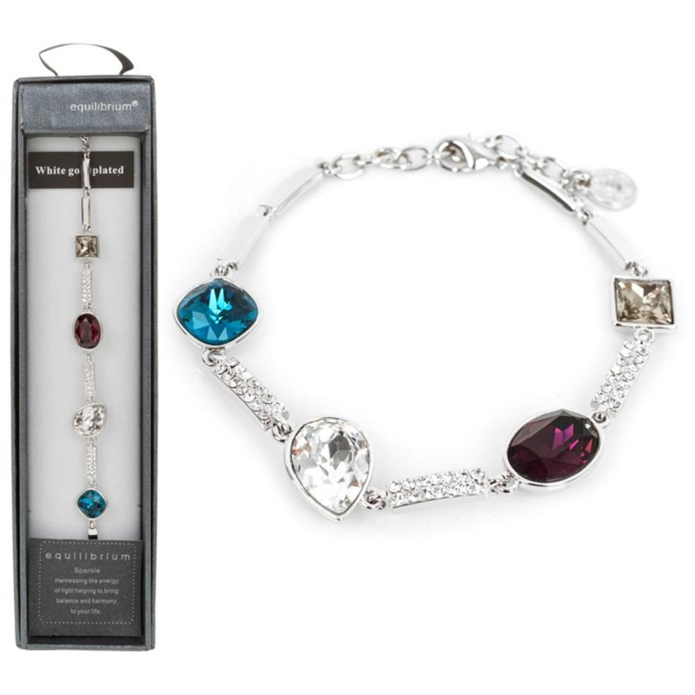 White Gold Plated Four Crystal Bracelet