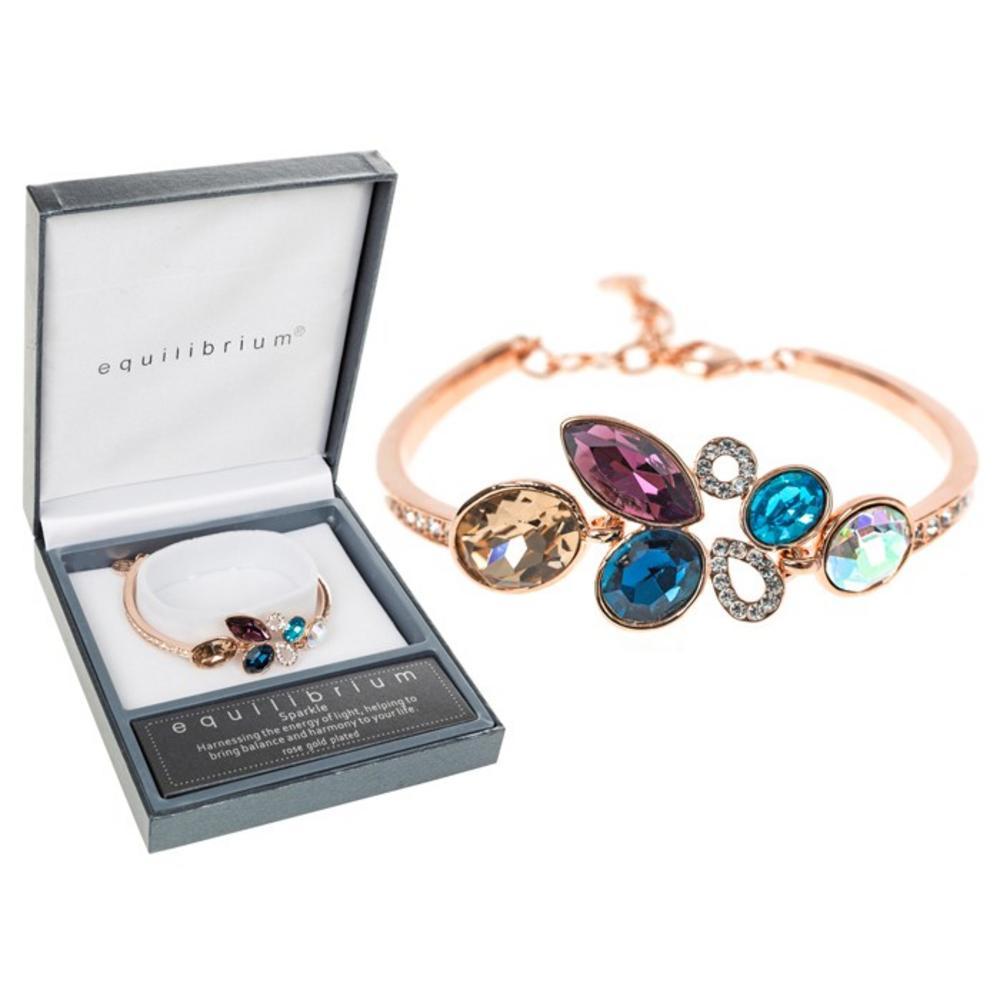 Rose Gold Crystal Cluster Bracelet
