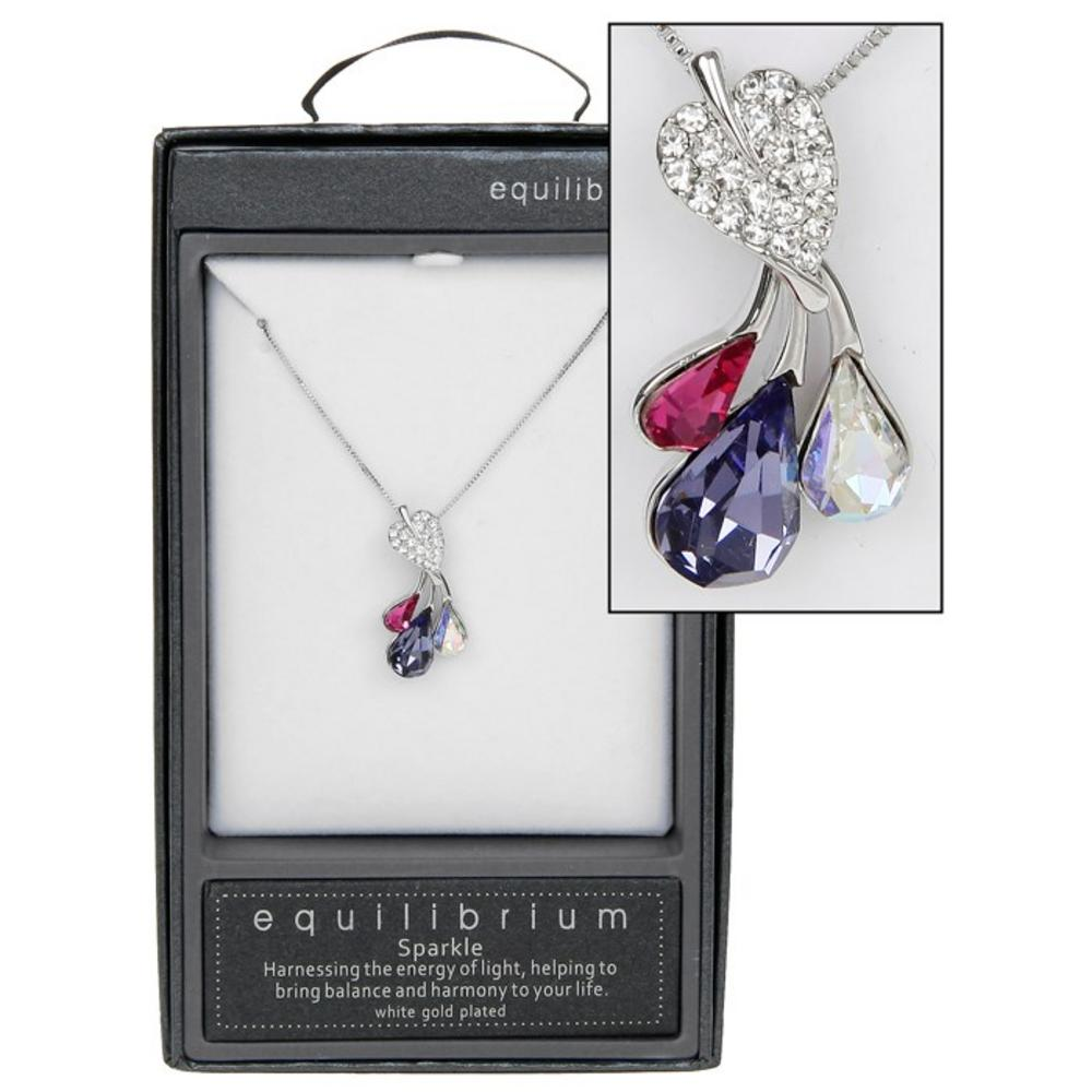 Clear Crystal White Gold Plated Leaf Purple