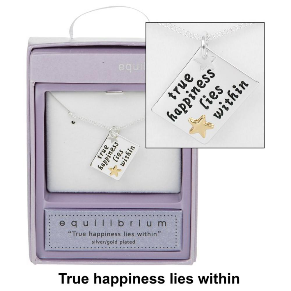 Equilibrium Silver Plated Sentiment Tag Necklace Haplatinum Platedine 14Cm X 4Cm