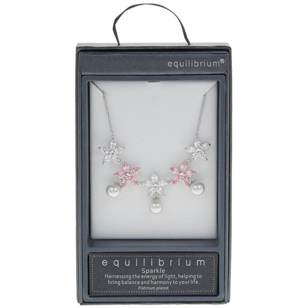 Platinum Pearl Necklace in Pink