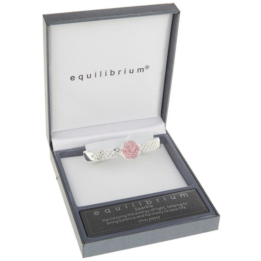 Half Pink Diamante Disk Bracelet