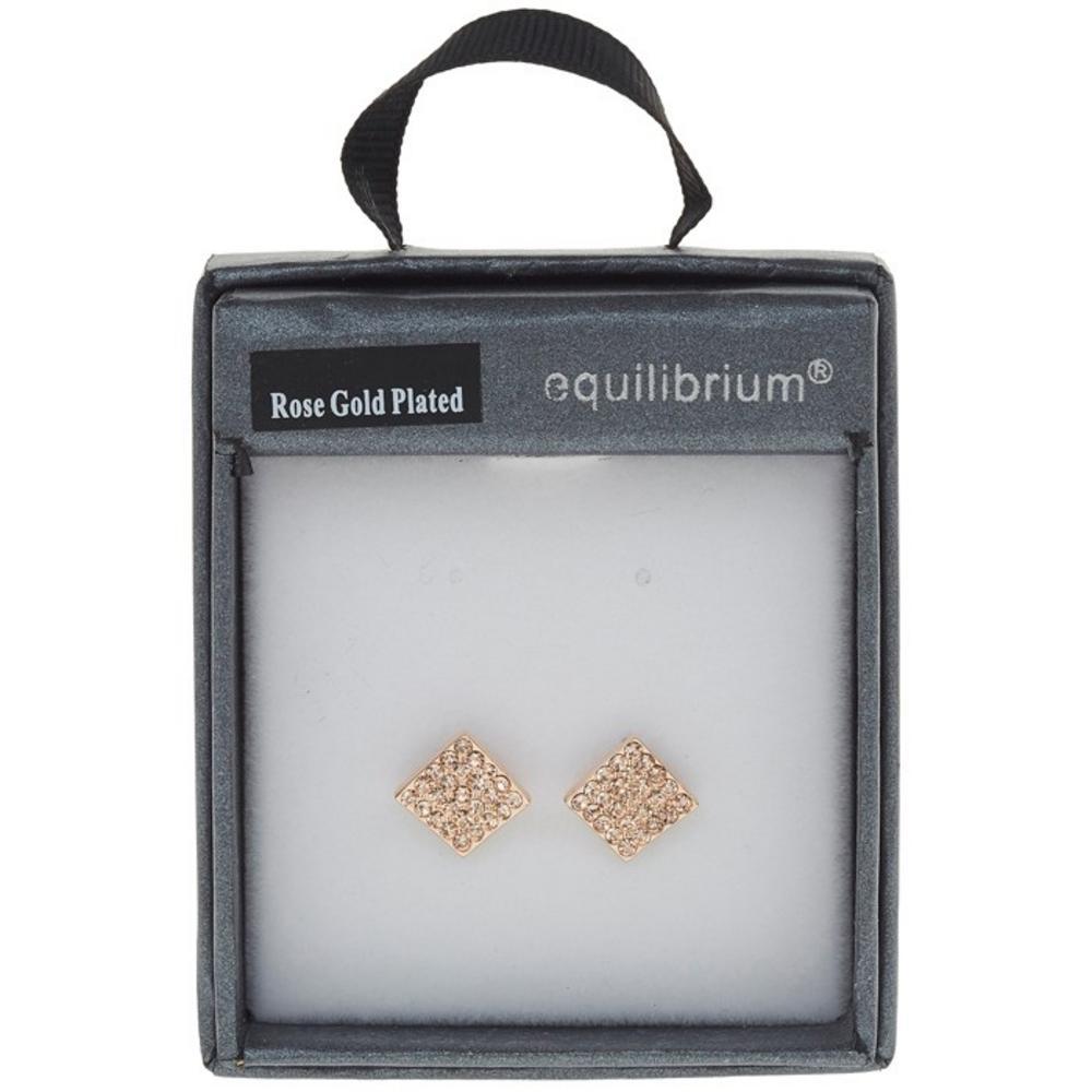 Equilibrium Rose Gold Plated Diamante Diamante Earrings 1Cm X 1Cm