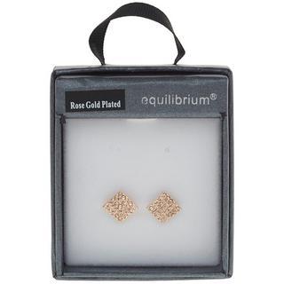 Equilibrium Rose Gold Plated Diamante Diamante Earrings 1Cm X 1Cm Thumbnail 1