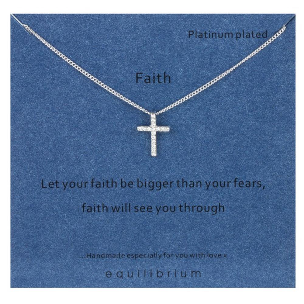 Faith Platinum Plated Necklace