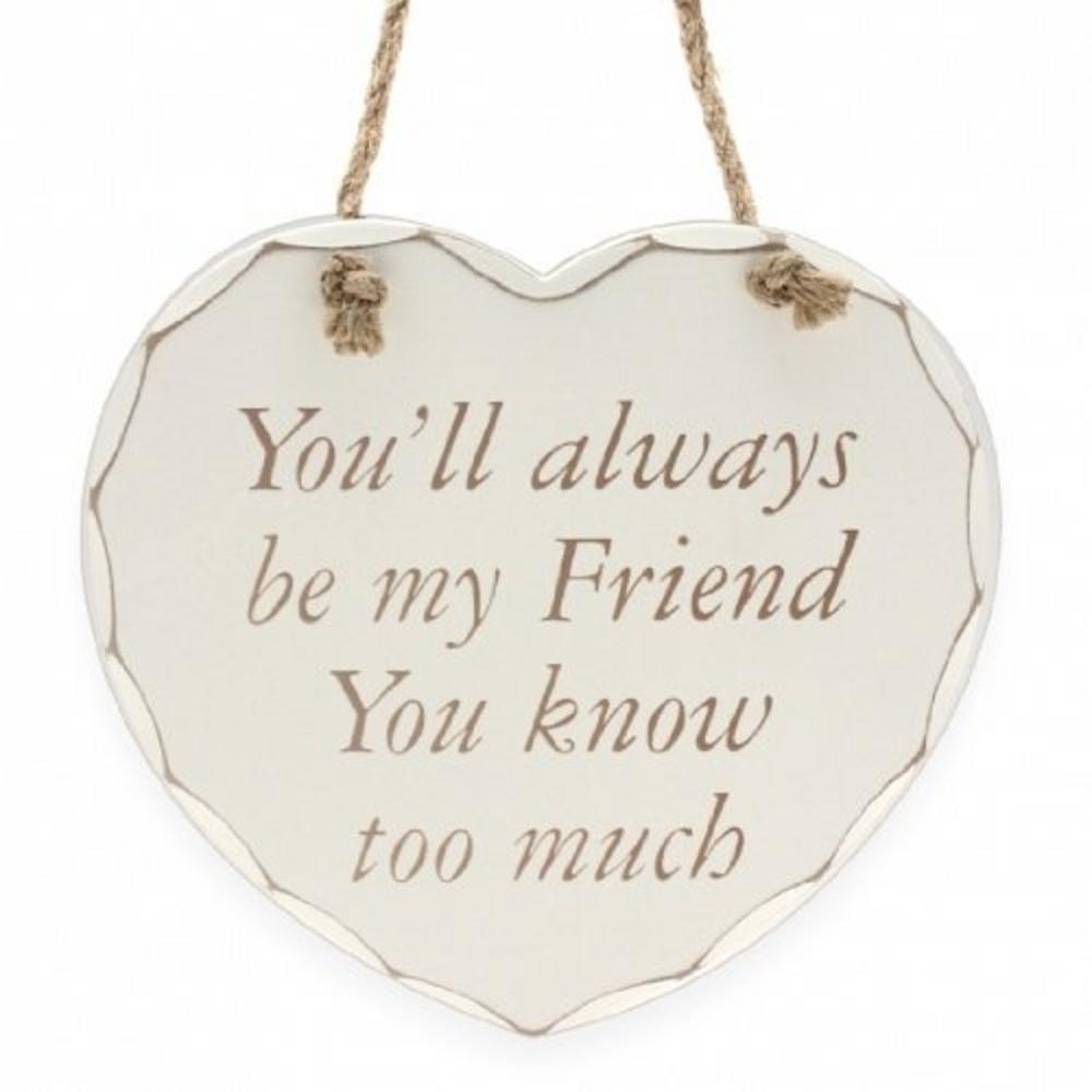Shabby Chic Heart Friend Plaque