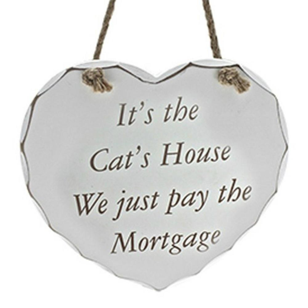Shabby Chic Heart Cats House Message Plaque