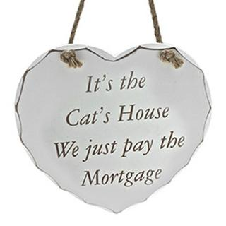 Shabby Chic Heart Cats House Message Plaque Thumbnail 1