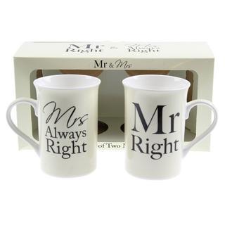 Mr & Mrs Right Mug Set Thumbnail 1