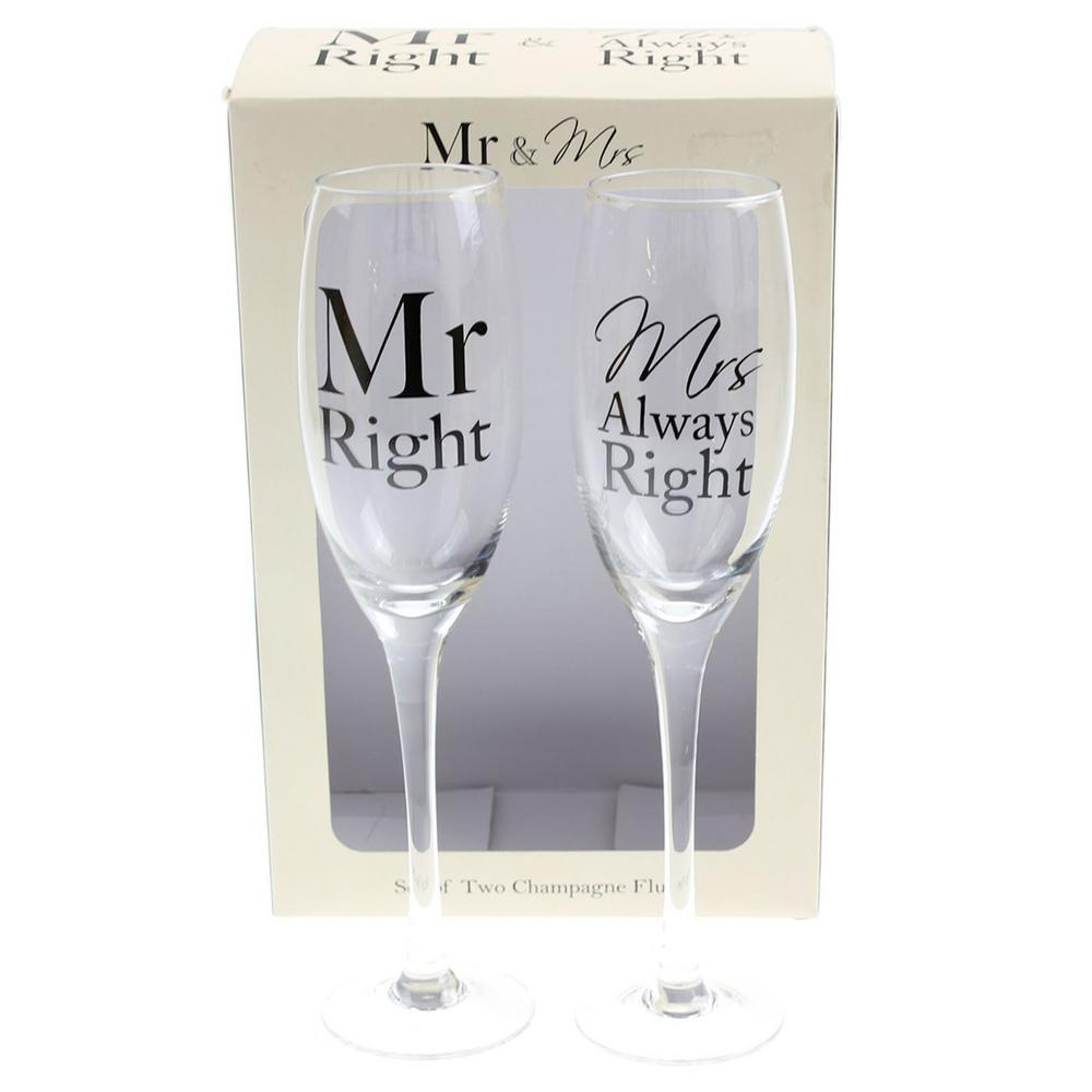 Mr & Mrs Right Set 2 Champagne Flutes