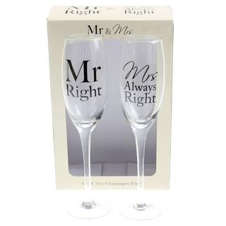 Mr & Mrs Right Set 2 Champagne Flutes Thumbnail 1