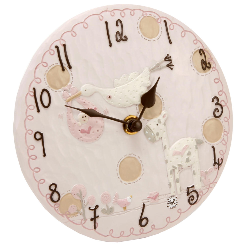 Tracey Russell Polka Dot Collection Resin Mantel Clock - Pink W155 X H155 X D45