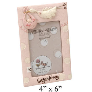 "Tracey Russell Polka Dot Collection Picture Photo Frame ""Congratulations"" Pink Thumbnail 1"