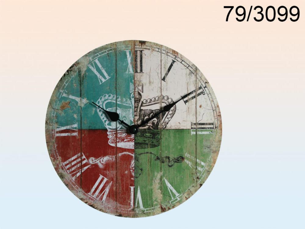 Wooden Wall Clock Crown Logo D: 33 Cm