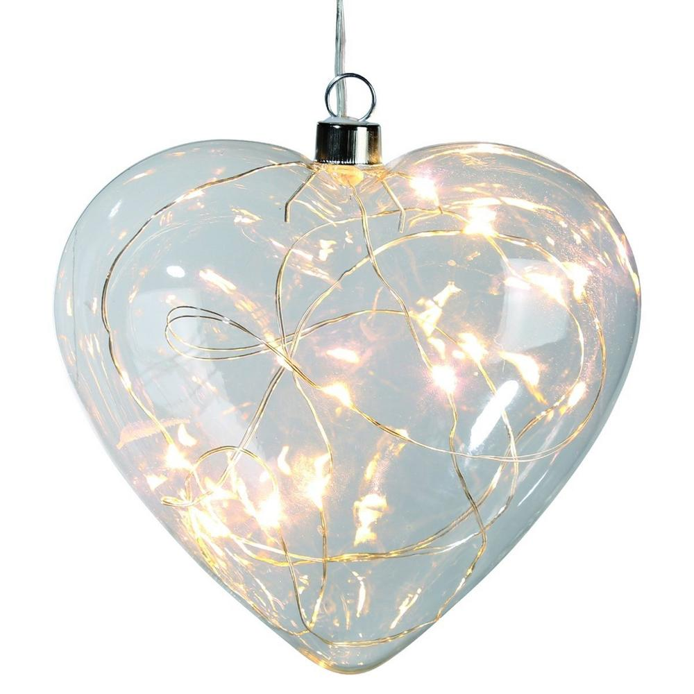Glass heart with 10 white LED Lights
