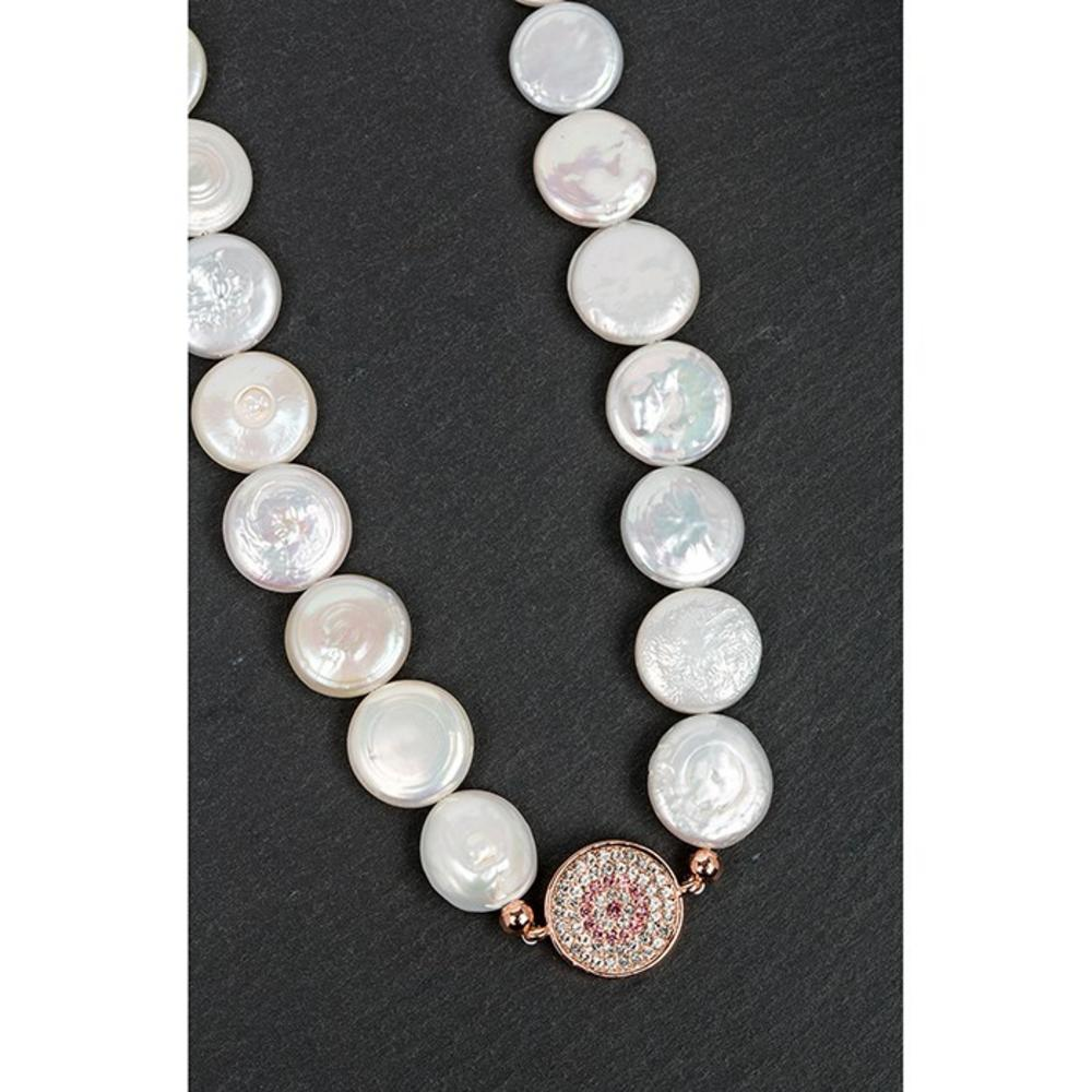 Rose Gold Plated Pearl Diamante Disk Necklace