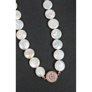 Rose Gold Plated Pearl Diamante Disk Necklace Thumbnail 1
