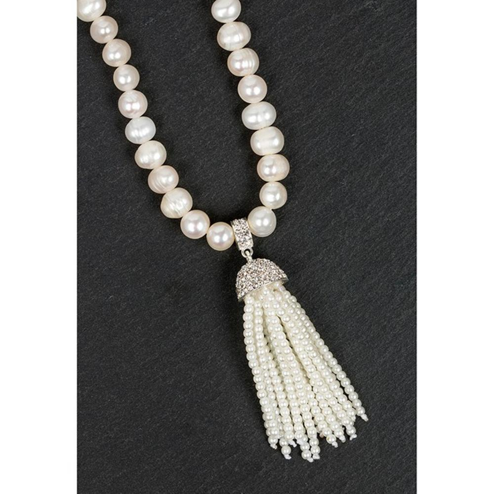 Silver Plated Pearl Tassel Necklace