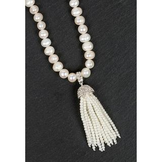 Silver Plated Pearl Tassel Necklace Thumbnail 1