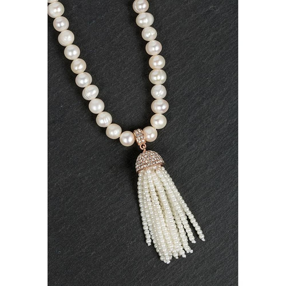 Rose Gold Plated Pearl Tassel Necklace