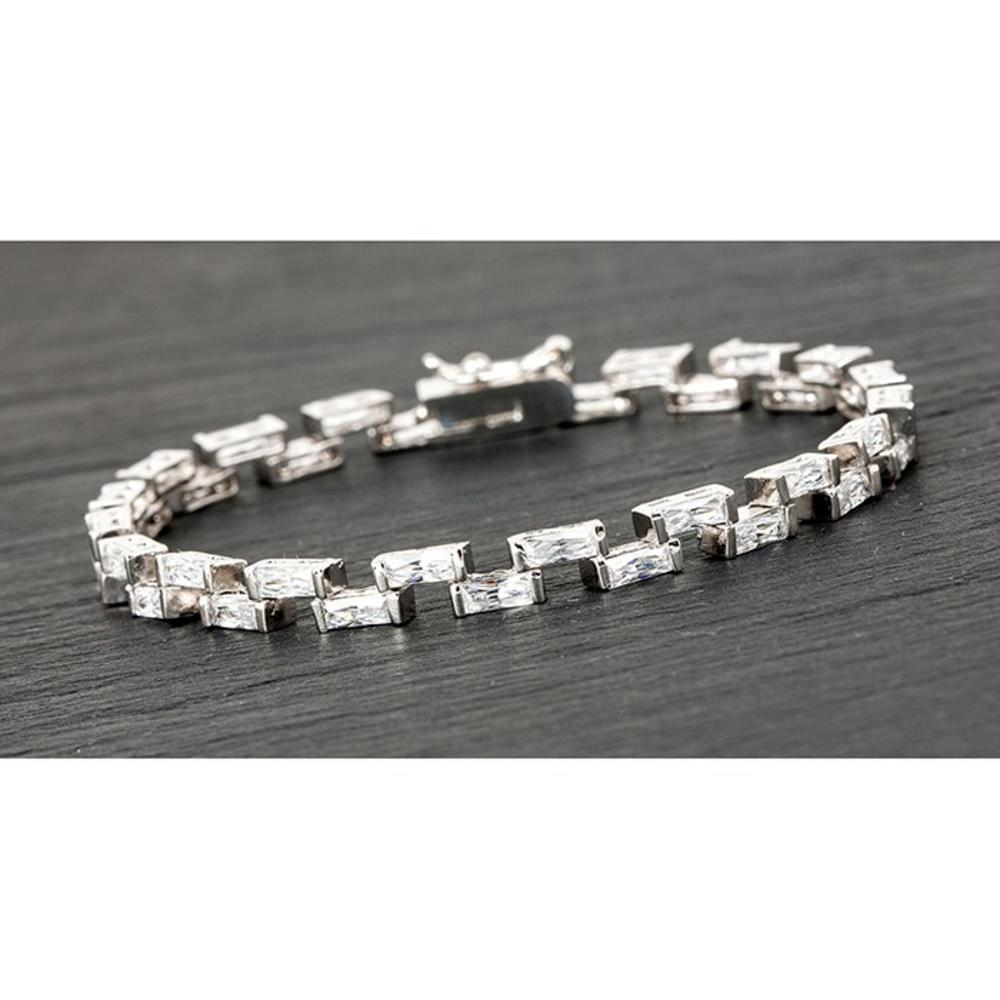 Silver Plated Step Stones Bracelet Clear