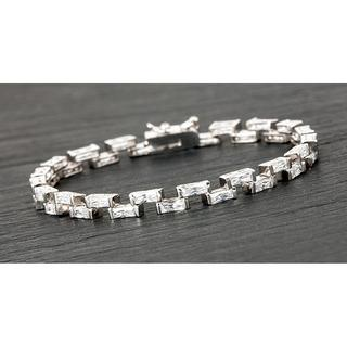 Silver Plated Step Stones Bracelet Clear Thumbnail 1