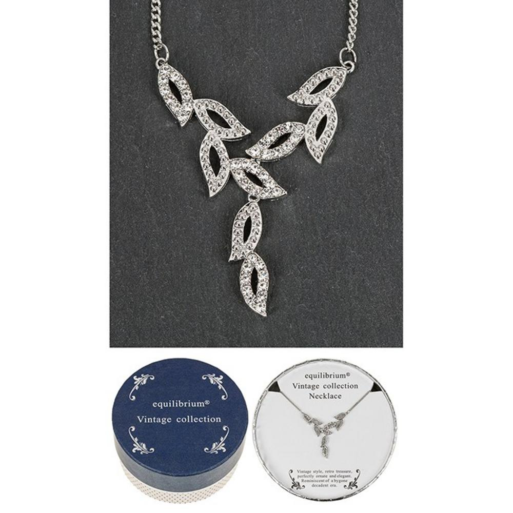 Vintage Collection Silver Hollow Leaves Necklace