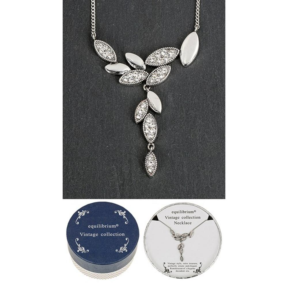 Vintage Collection Silver Solid Leaves Necklace