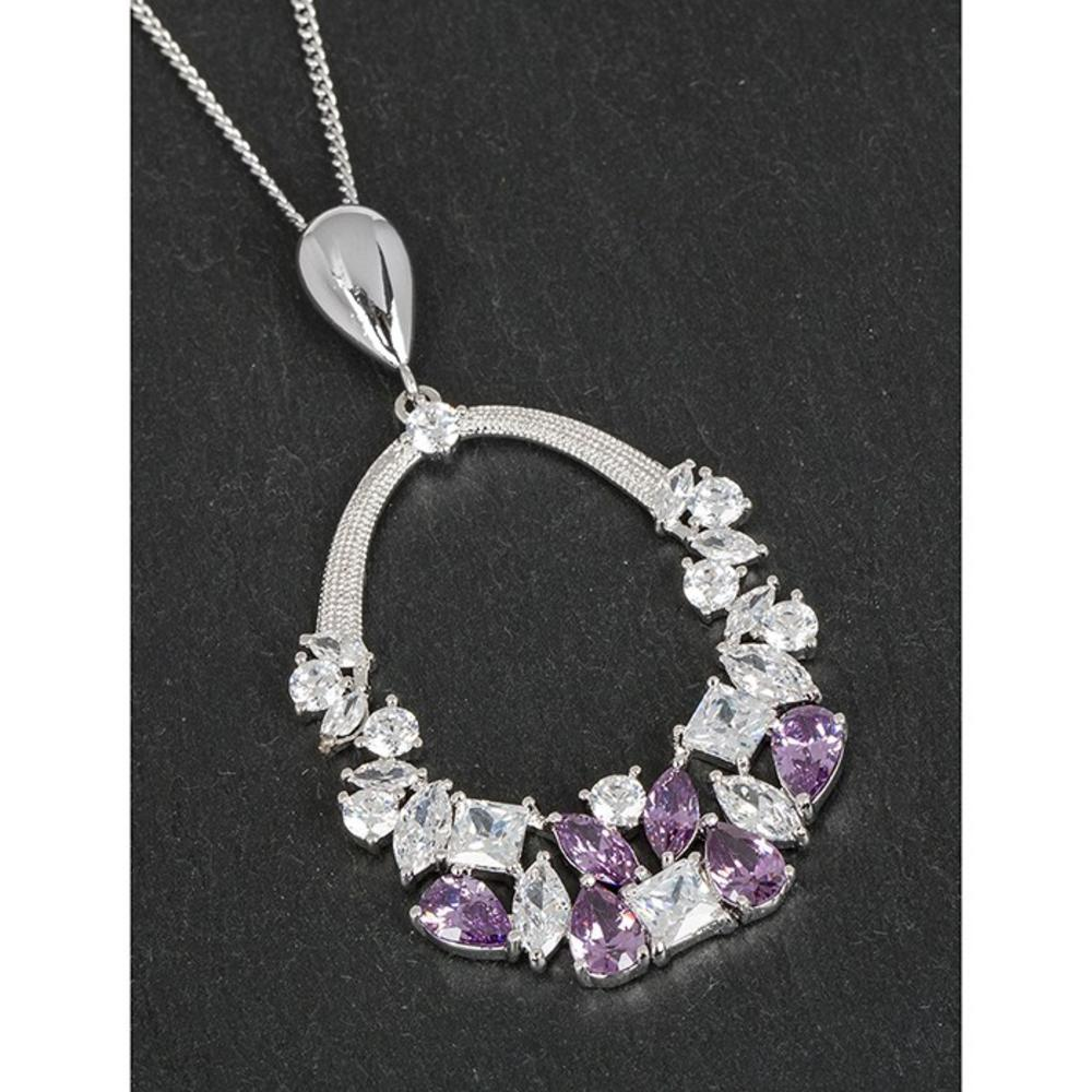 Platinum Plated Crystal Loop Lilac Necklace