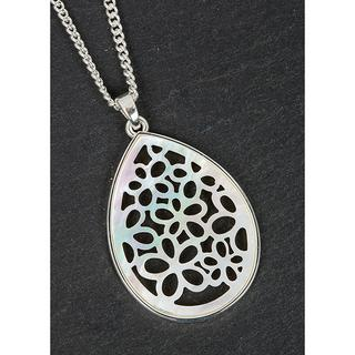 Silver Plated Mother Of Pearl Flowers Necklace Thumbnail 1