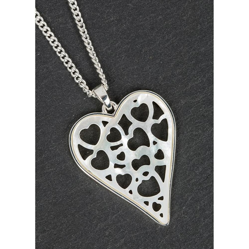 Silver Plated Mother Of Pearl Hearts within hearts Necklace