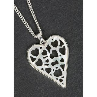 Silver Plated Mother Of Pearl Hearts within hearts Necklace Thumbnail 1