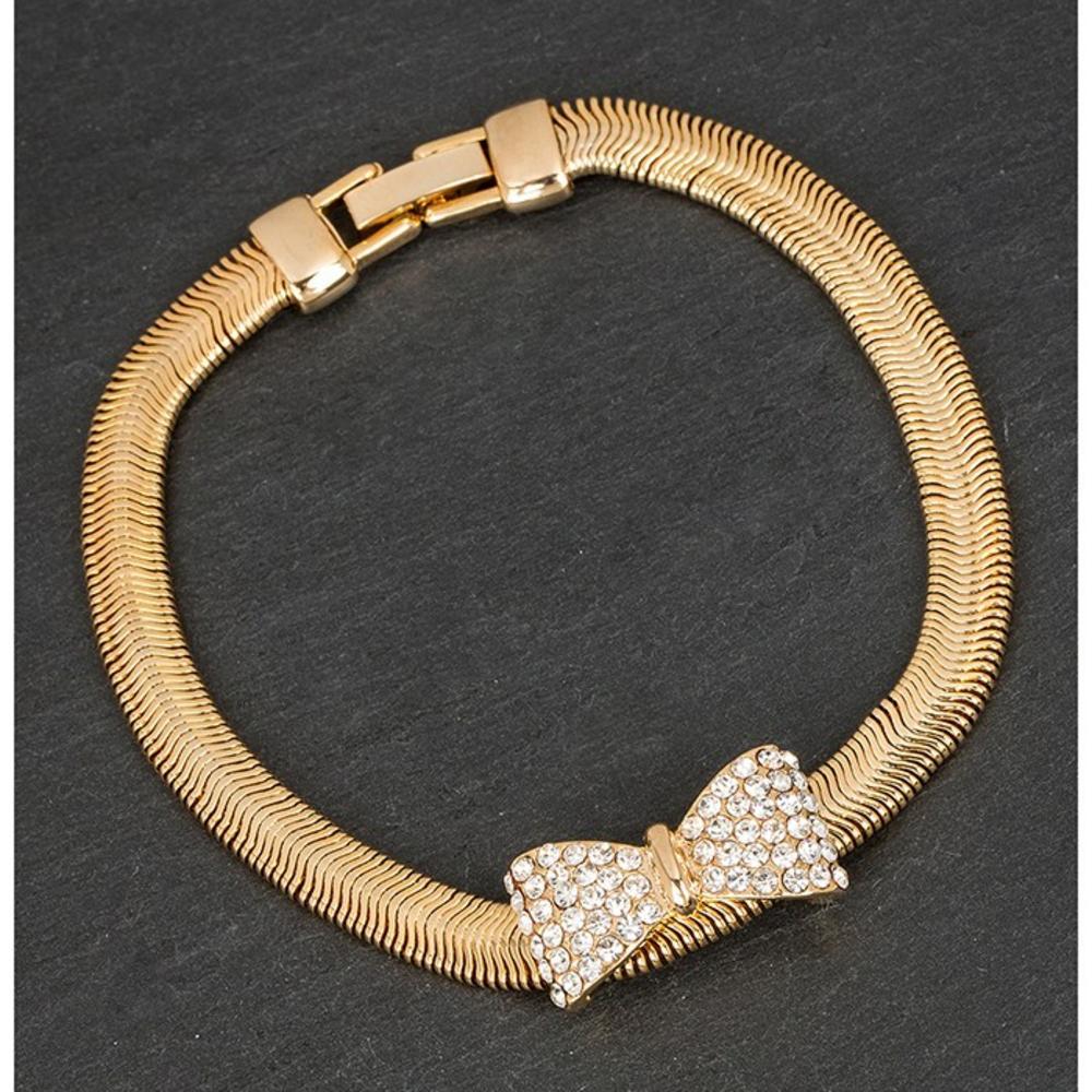 Gold Plated Mesh Diamante Bow Bracelet