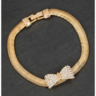 Gold Plated Mesh Diamante Bow Bracelet Thumbnail 1