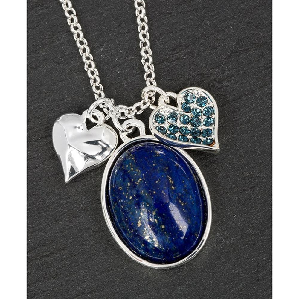 Silver Plated Lapis Lazulli & Hearts Necklace
