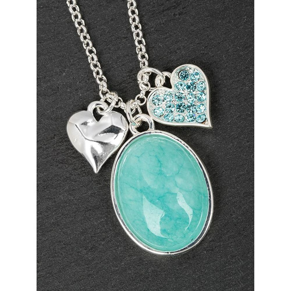 Silver Plated Amazonite & Hearts Necklace