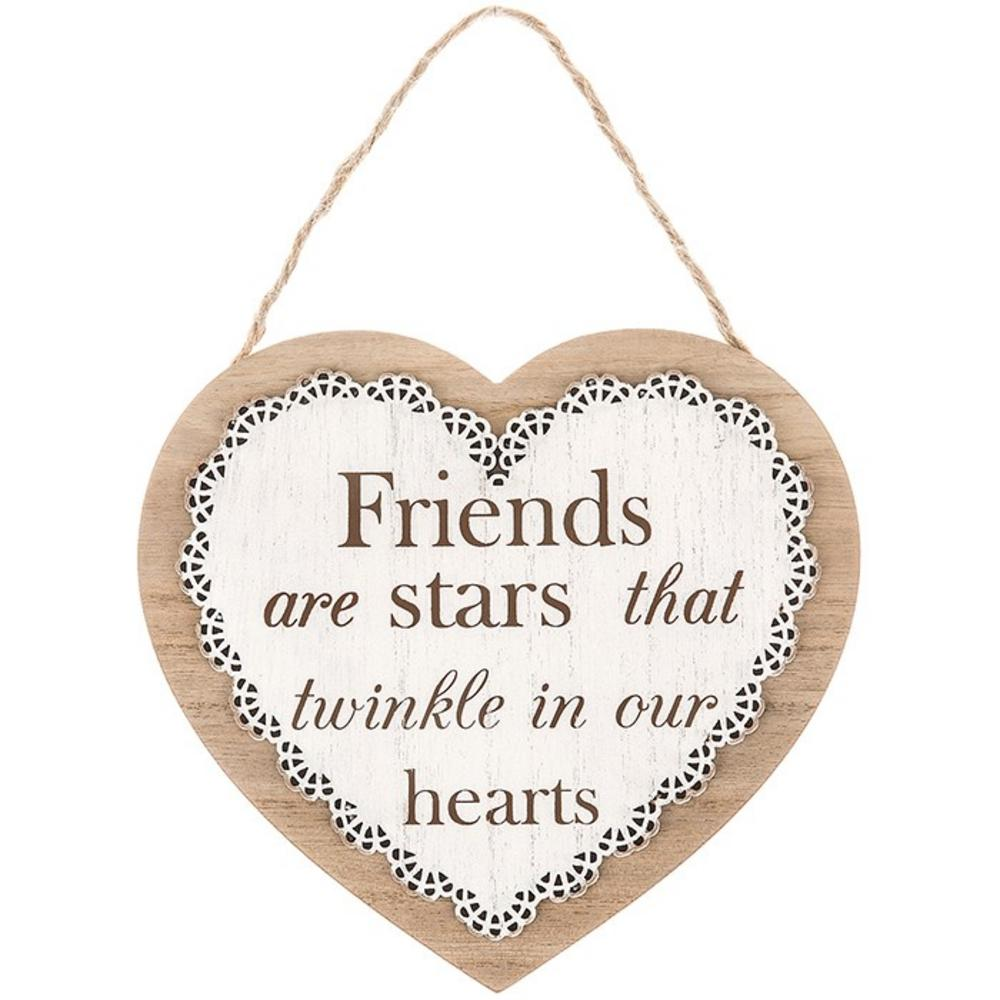 Chantilly Lace Heart Plaque Friends Are Stars That Twinkle In Our Hearts